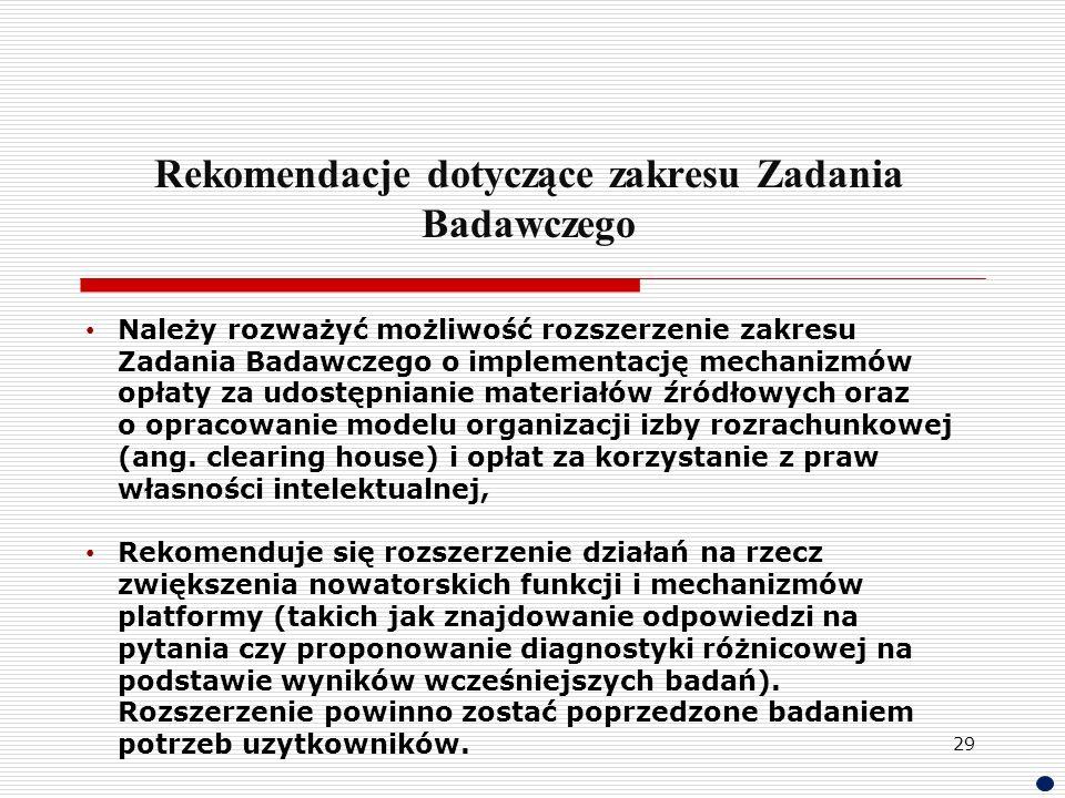 Rekomendacje dotyczące zakresu Zadania Badawczego