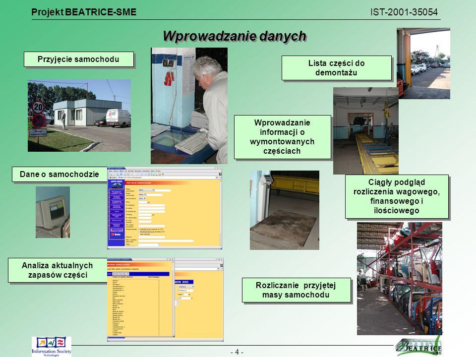 Wprowadzanie danych Projekt BEATRICE-SME IST-2001-35054