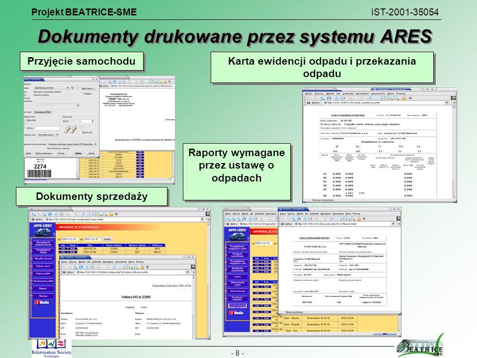 Dokumenty drukowane przez systemu ARES