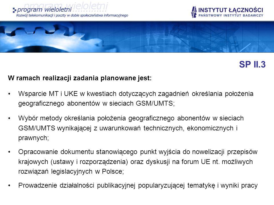 SP II.3 W ramach realizacji zadania planowane jest: