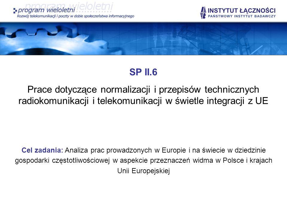 SP II.6Prace dotyczące normalizacji i przepisów technicznych radiokomunikacji i telekomunikacji w świetle integracji z UE.