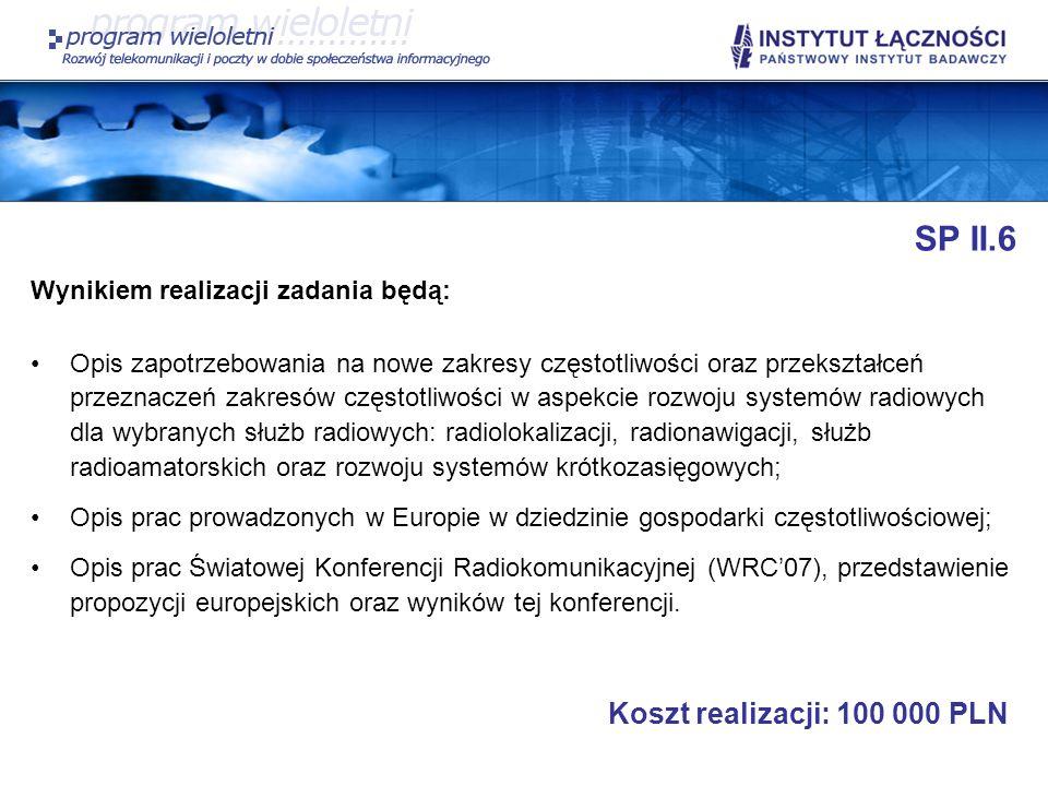 SP II.6 Koszt realizacji: 100 000 PLN