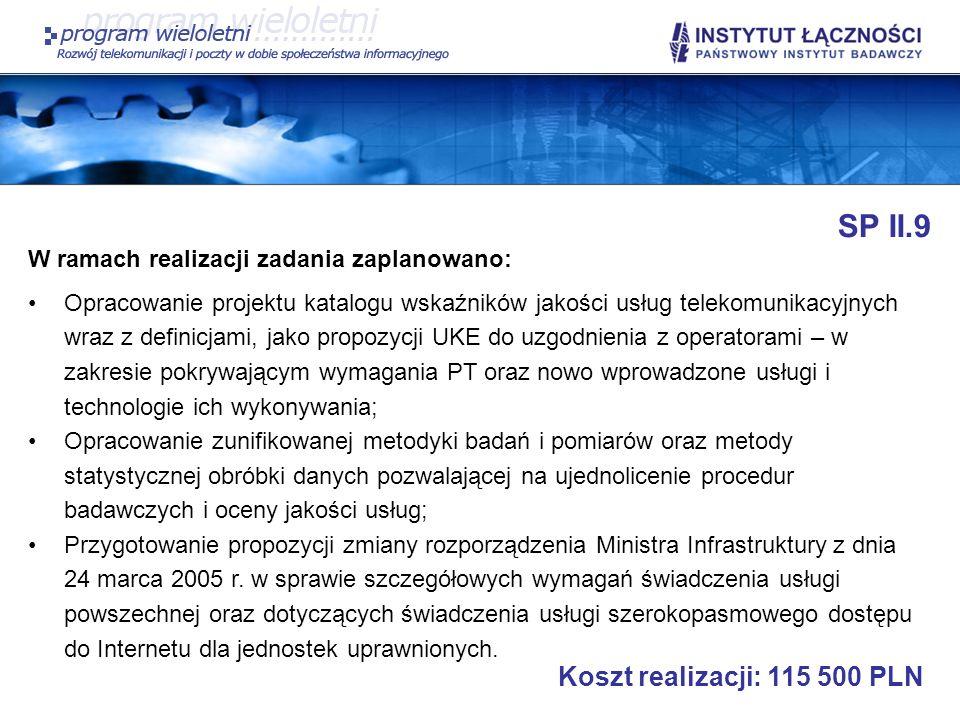 SP II.9 Koszt realizacji: 115 500 PLN