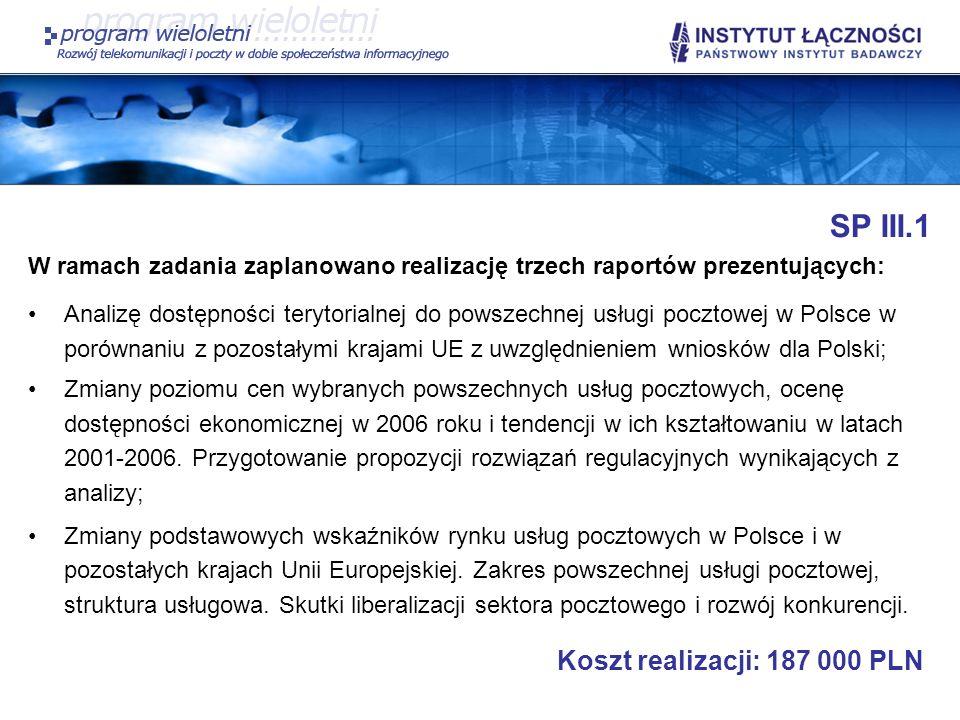 SP III.1 Koszt realizacji: 187 000 PLN
