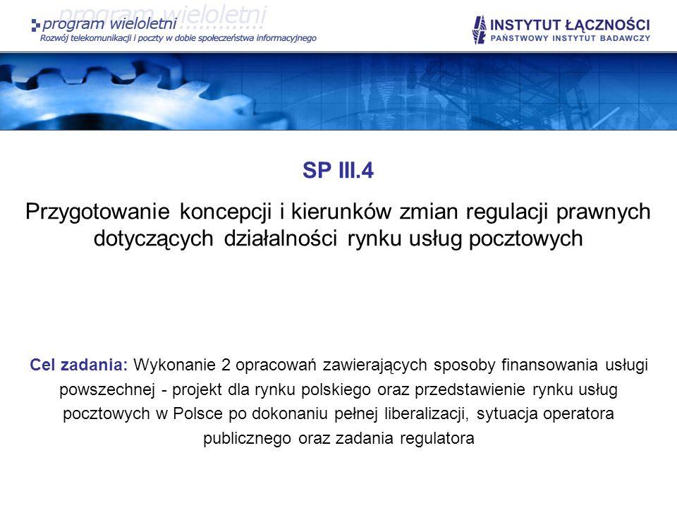 SP III.4Przygotowanie koncepcji i kierunków zmian regulacji prawnych dotyczących działalności rynku usług pocztowych.