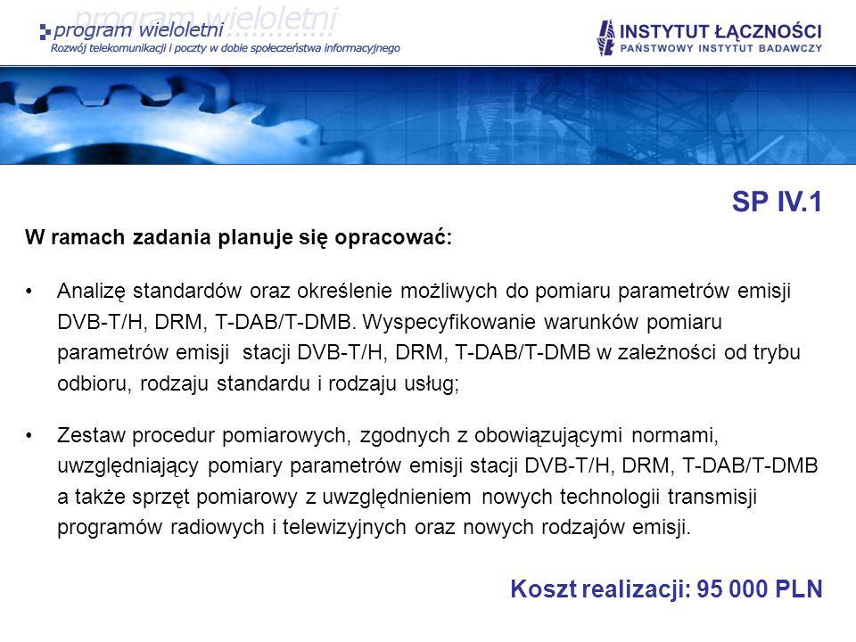 SP IV.1 Koszt realizacji: 95 000 PLN