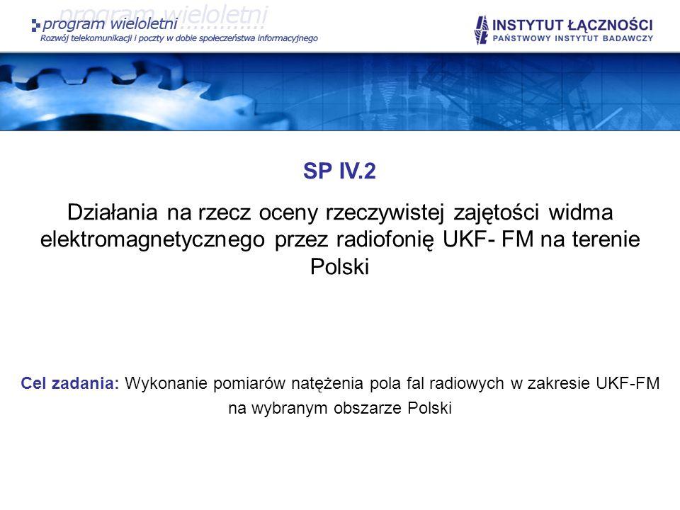 SP IV.2 Działania na rzecz oceny rzeczywistej zajętości widma elektromagnetycznego przez radiofonię UKF- FM na terenie Polski.