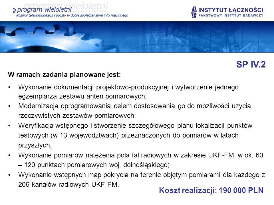 SP IV.2 Koszt realizacji: 190 000 PLN W ramach zadania planowane jest: