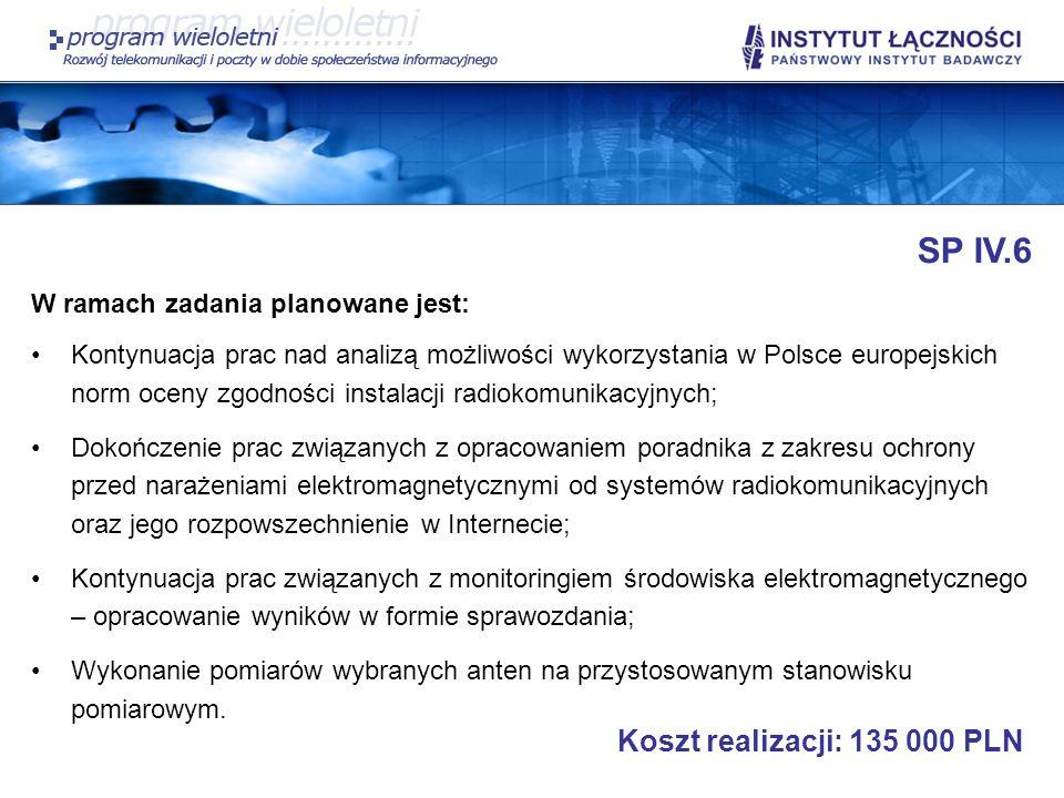 SP IV.6 Koszt realizacji: 135 000 PLN W ramach zadania planowane jest: