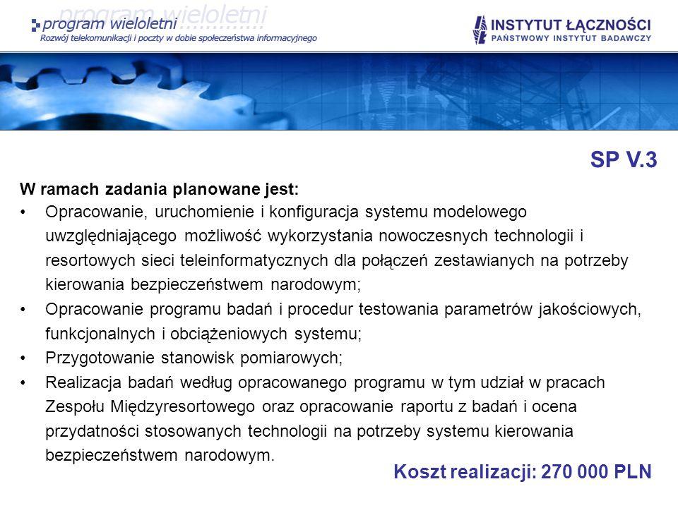 SP V.3 Koszt realizacji: 270 000 PLN W ramach zadania planowane jest: