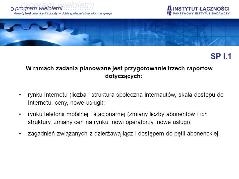 SP I.1 W ramach zadania planowane jest przygotowanie trzech raportów dotyczących: