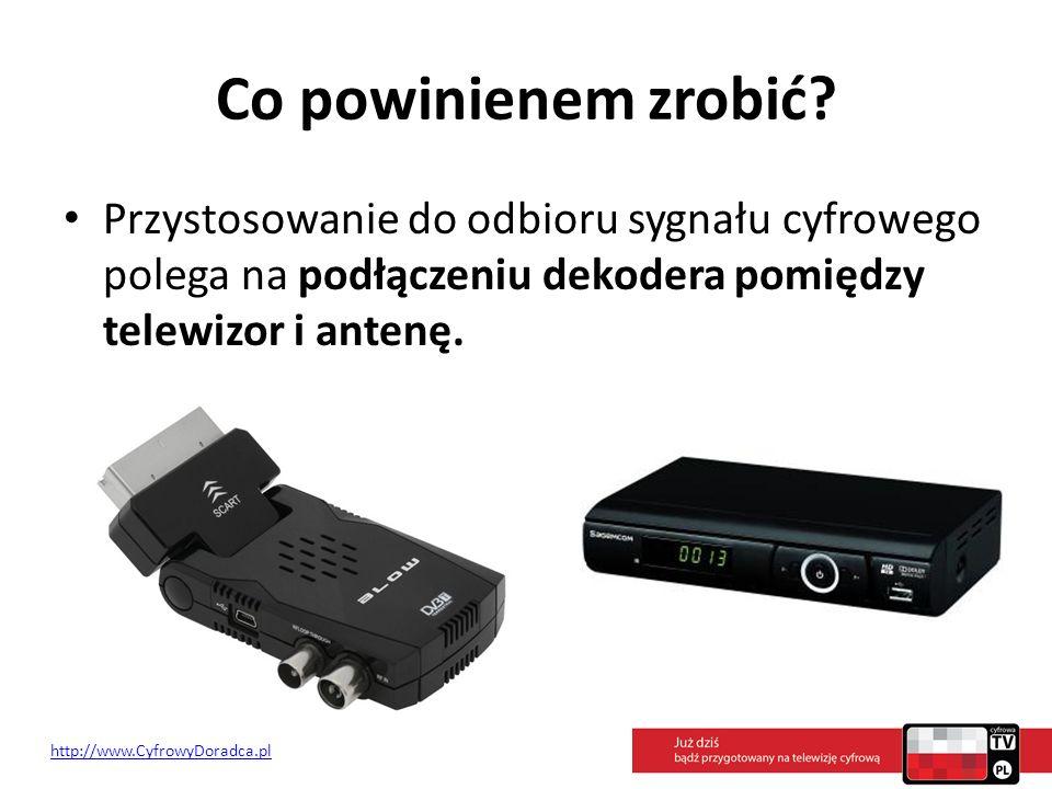 Co powinienem zrobić Przystosowanie do odbioru sygnału cyfrowego polega na podłączeniu dekodera pomiędzy telewizor i antenę.