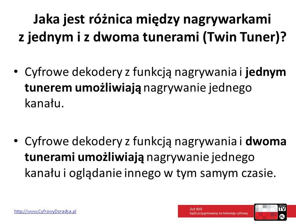 Jaka jest różnica między nagrywarkami z jednym i z dwoma tunerami (Twin Tuner)