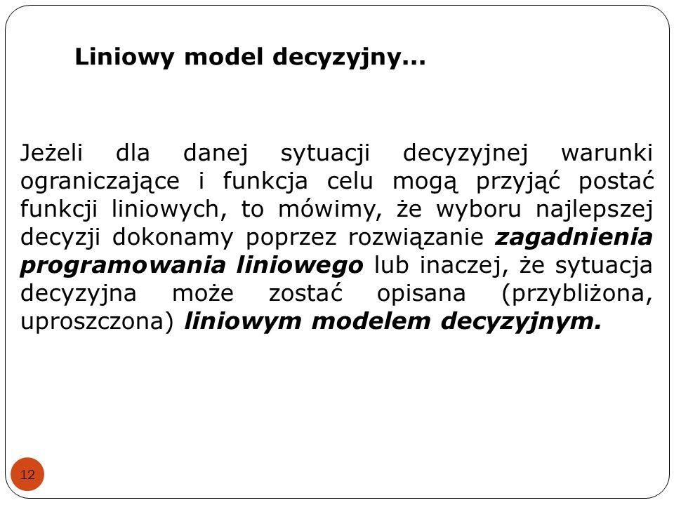 Liniowy model decyzyjny...
