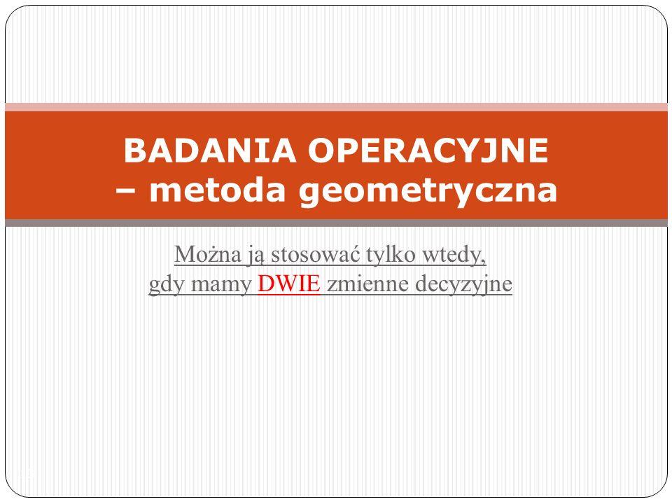 BADANIA OPERACYJNE – metoda geometryczna