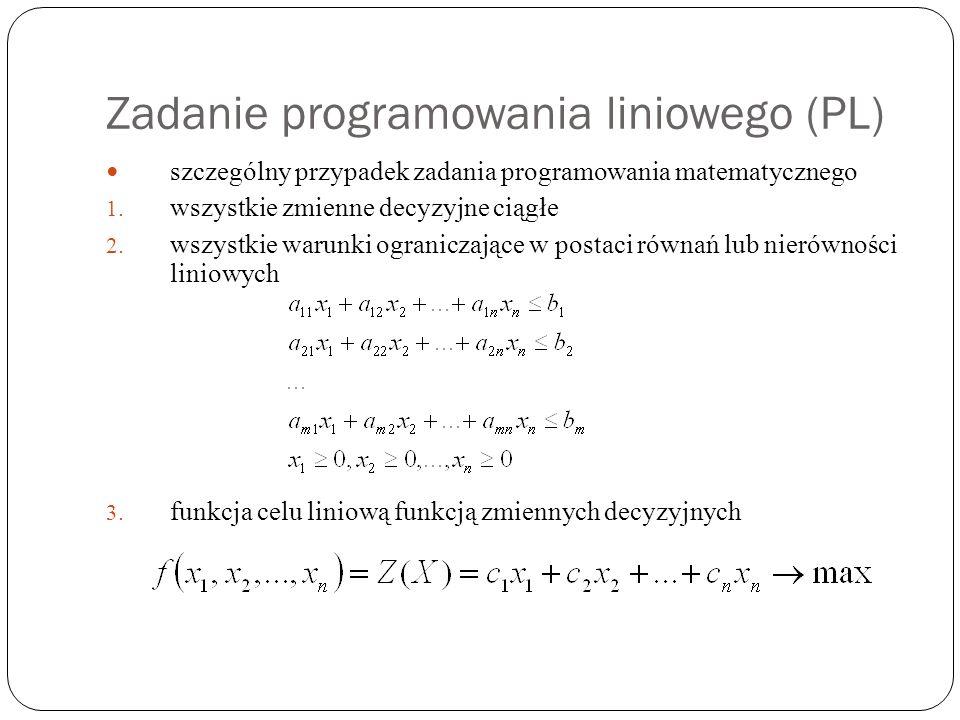 Zadanie programowania liniowego (PL)