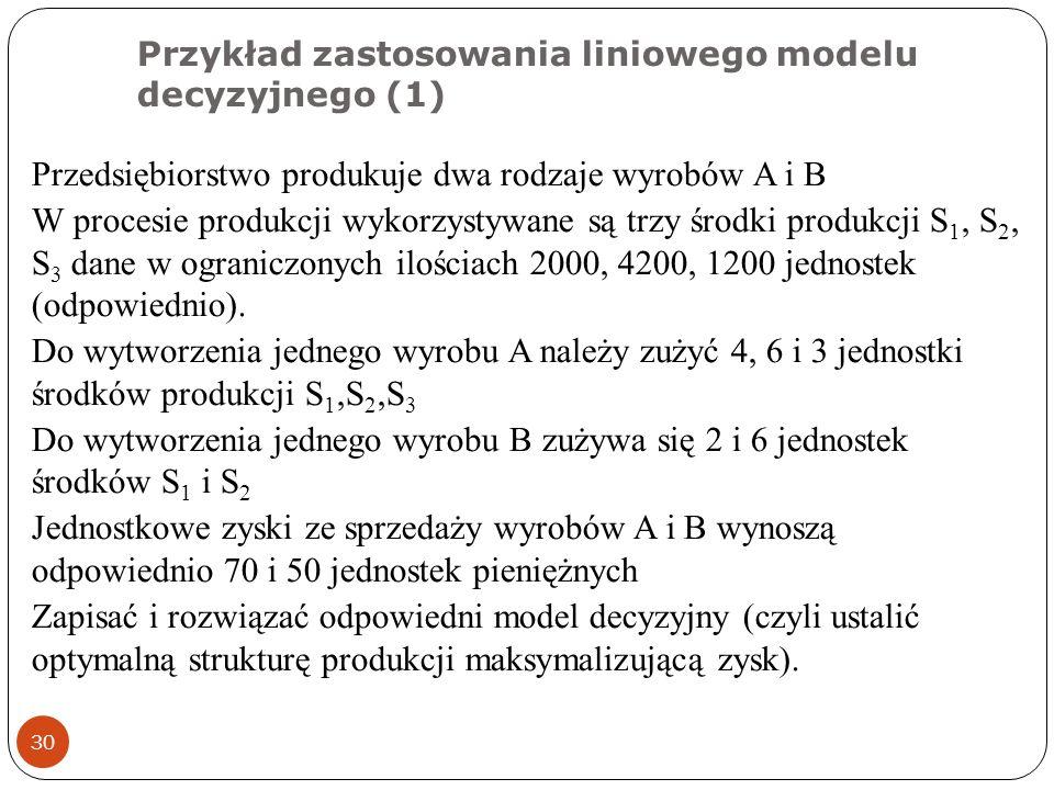 Przykład zastosowania liniowego modelu decyzyjnego (1)