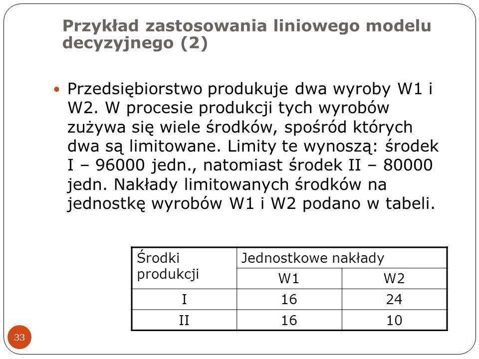 Przykład zastosowania liniowego modelu decyzyjnego (2)