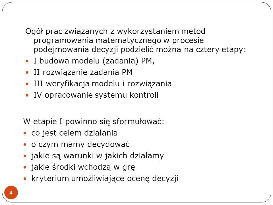 Ogół prac związanych z wykorzystaniem metod programowania matematycznego w procesie podejmowania decyzji podzielić można na cztery etapy: