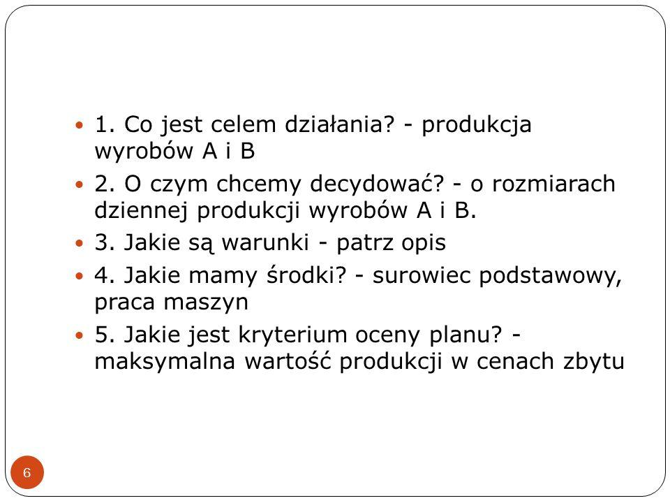1. Co jest celem działania - produkcja wyrobów A i B