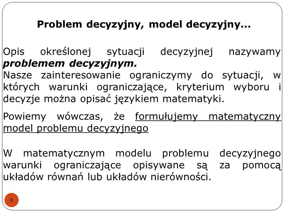 Problem decyzyjny, model decyzyjny...