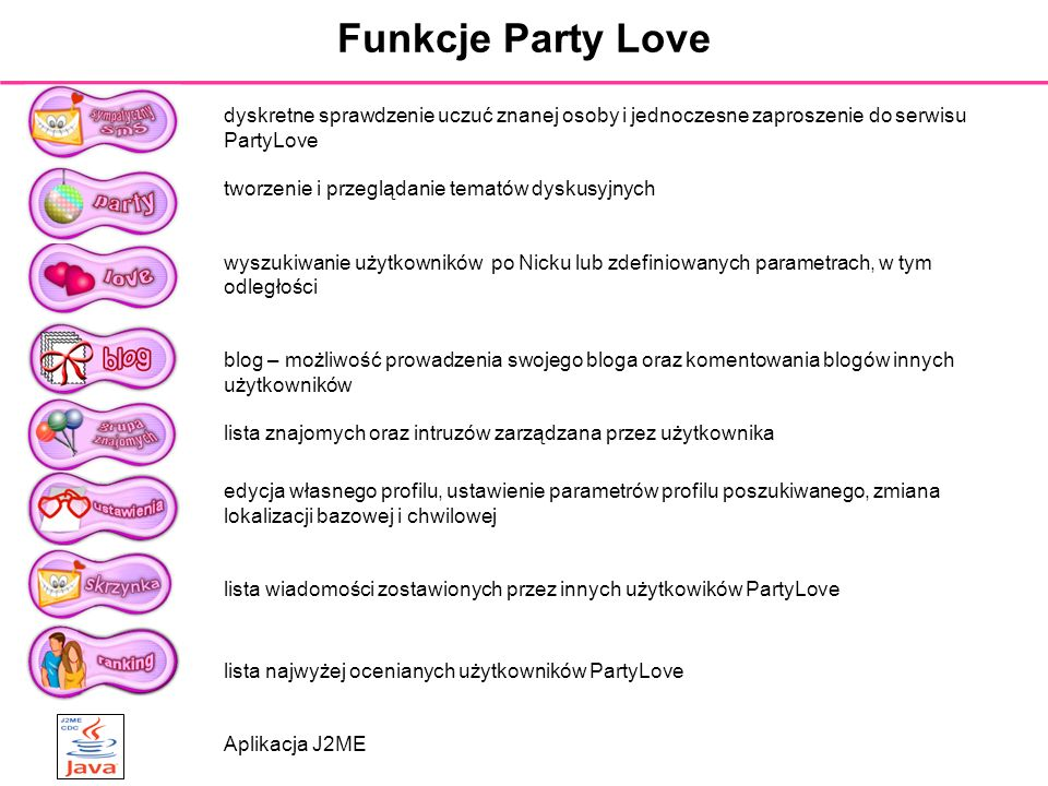 Funkcje Party Lovedyskretne sprawdzenie uczuć znanej osoby i jednoczesne zaproszenie do serwisu PartyLove.