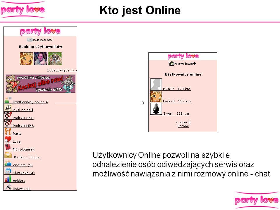 Kto jest OnlineUżytkownicy Online pozwoli na szybki e odnalezienie osób odiwedzających serwis oraz możliwość nawiązania z nimi rozmowy online - chat.