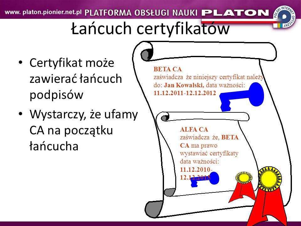Łańcuch certyfikatów Certyfikat może zawierać łańcuch podpisów