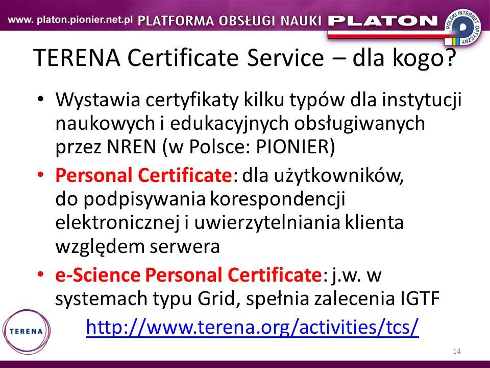 TERENA Certificate Service – dla kogo
