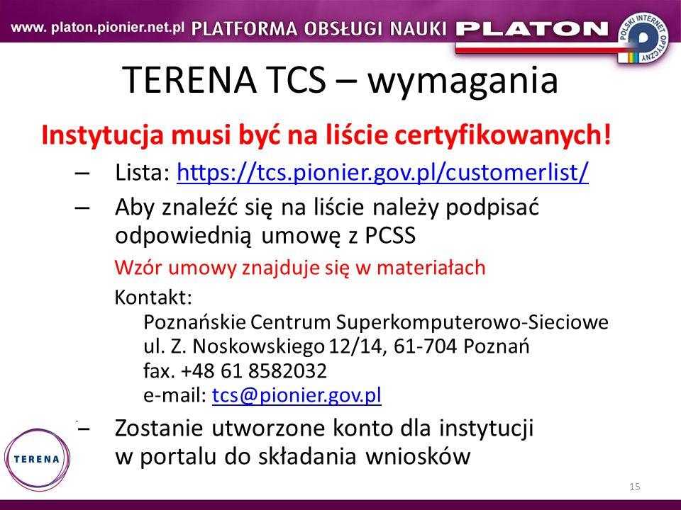 TERENA TCS – wymagania Instytucja musi być na liście certyfikowanych!