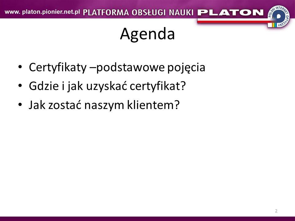 Agenda Certyfikaty –podstawowe pojęcia Gdzie i jak uzyskać certyfikat