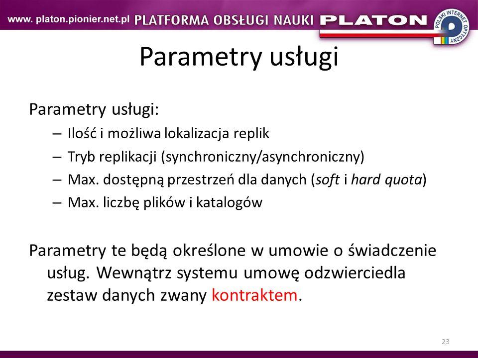 Parametry usługi Parametry usługi: