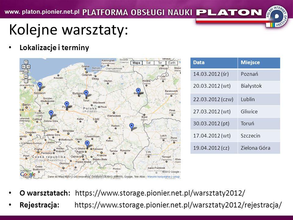 Kolejne warsztaty: Lokalizacje i terminy