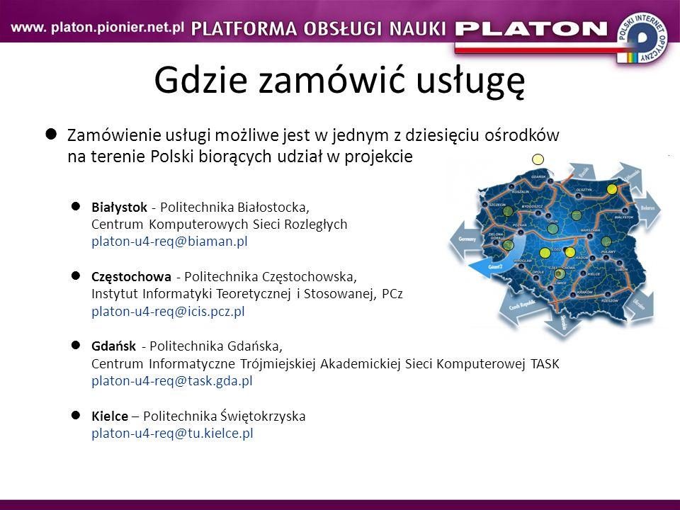 Gdzie zamówić usługę Zamówienie usługi możliwe jest w jednym z dziesięciu ośrodków na terenie Polski biorących udział w projekcie.