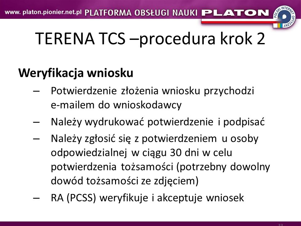 TERENA TCS –procedura krok 2
