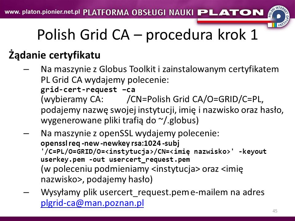 Polish Grid CA – procedura krok 1