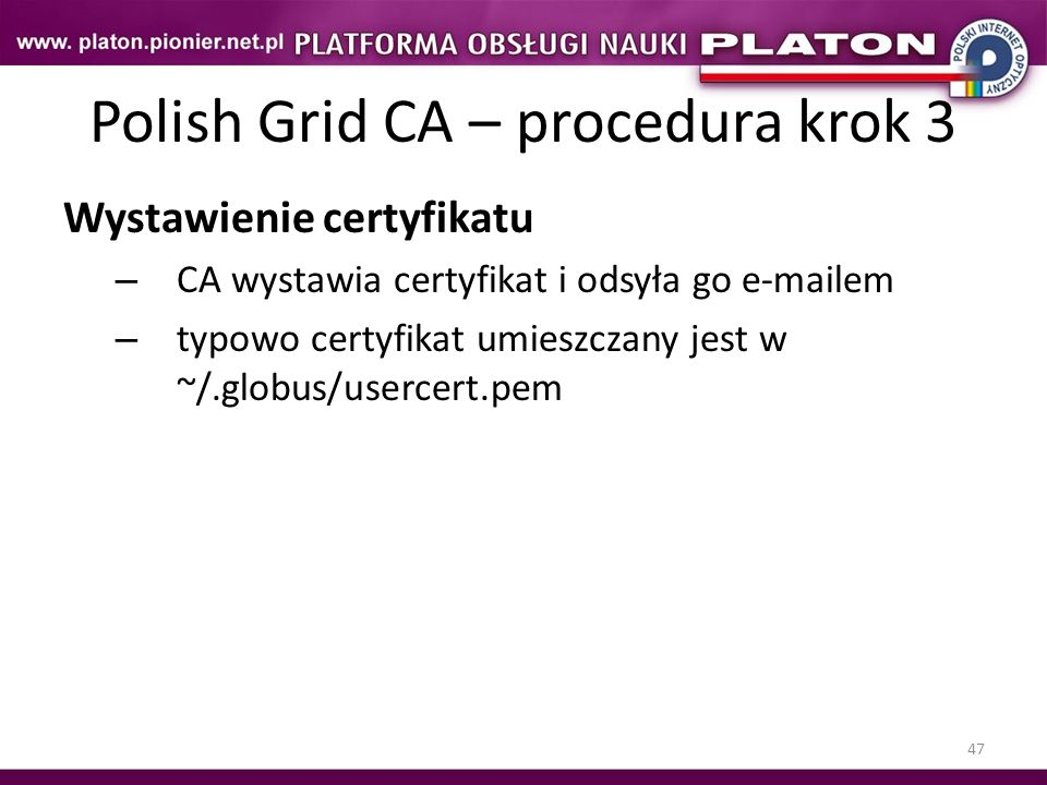 Polish Grid CA – procedura krok 3