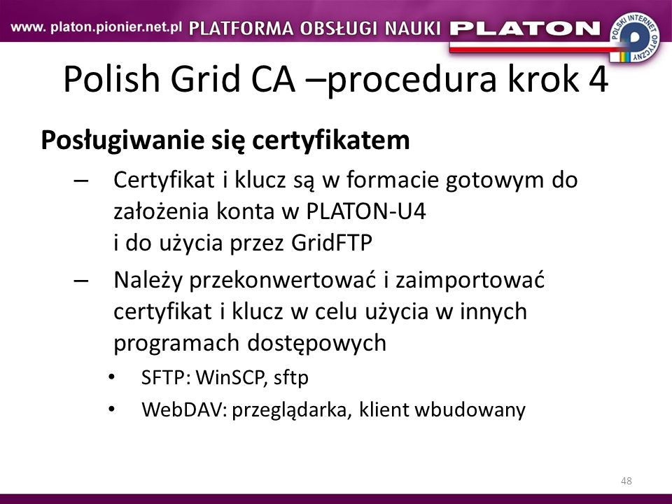 Polish Grid CA –procedura krok 4