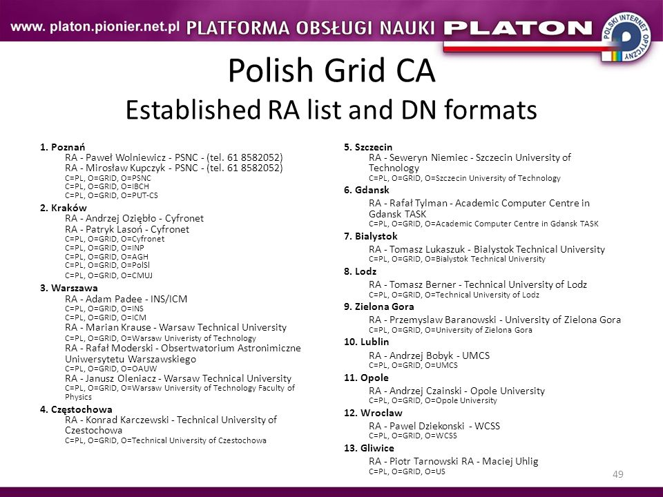 Polish Grid CA Established RA list and DN formats