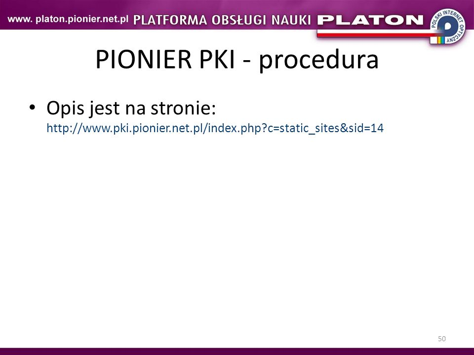 PIONIER PKI - procedura