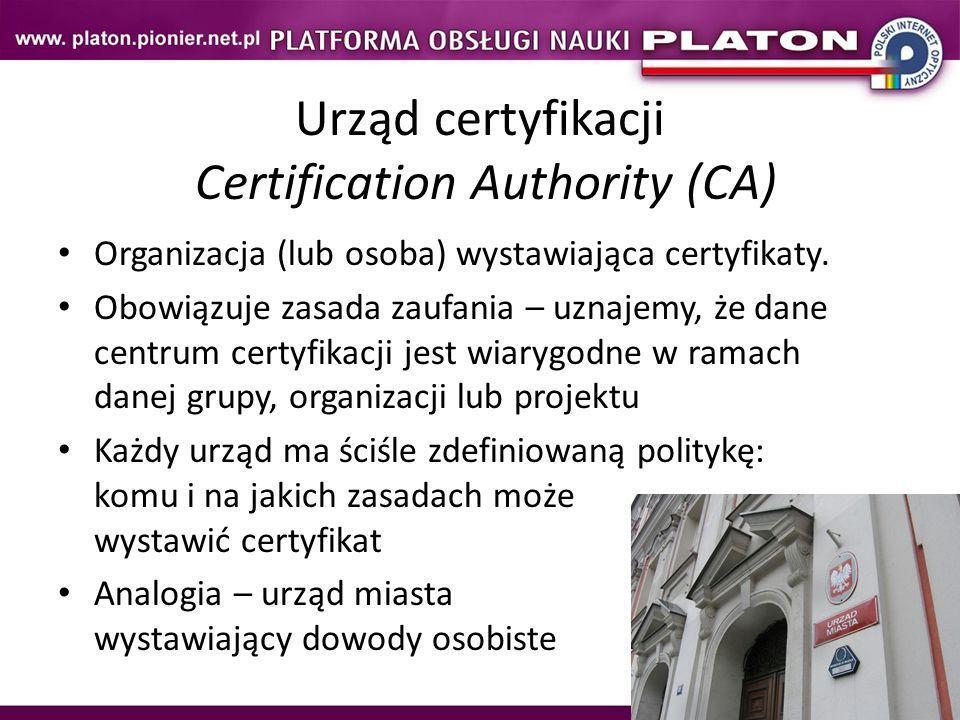 Urząd certyfikacji Certification Authority (CA)