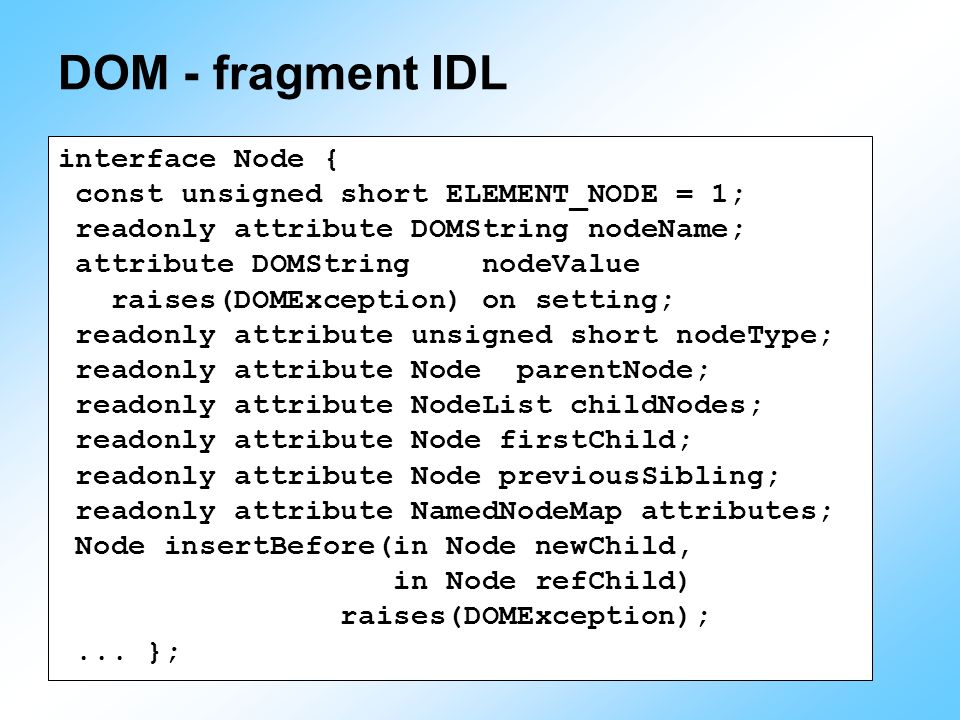 DOM - fragment IDL interface Node {