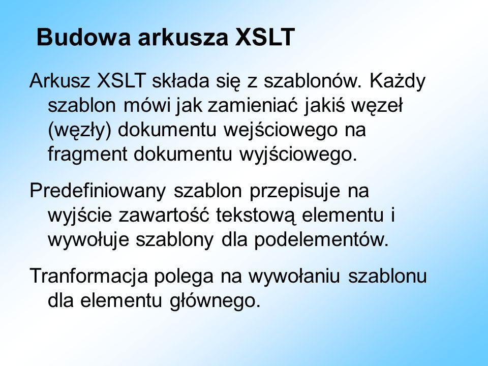 Budowa arkusza XSLT
