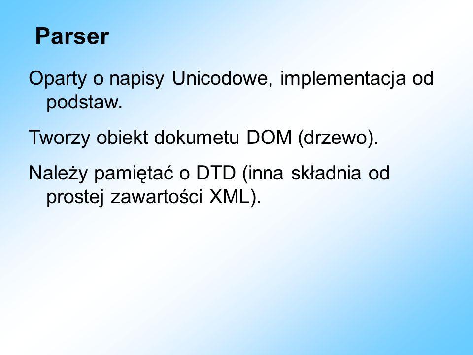 Parser Oparty o napisy Unicodowe, implementacja od podstaw.