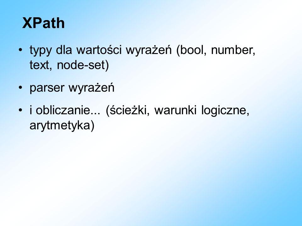 XPath typy dla wartości wyrażeń (bool, number, text, node-set)