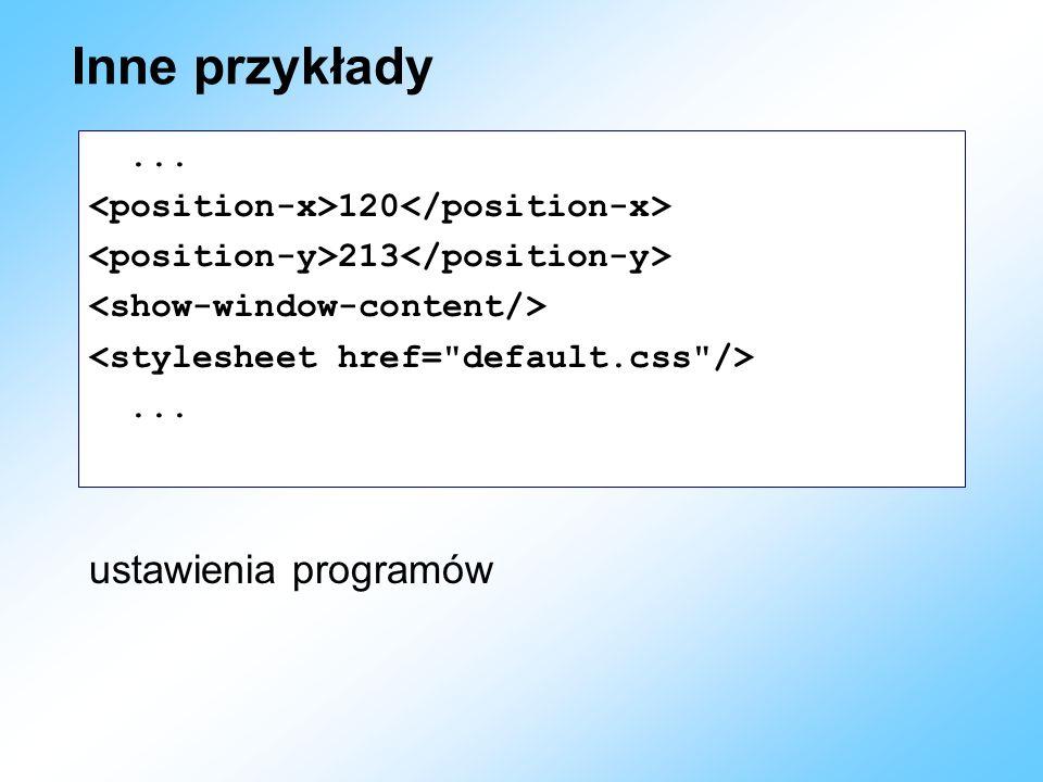 Inne przykłady ustawienia programów ...