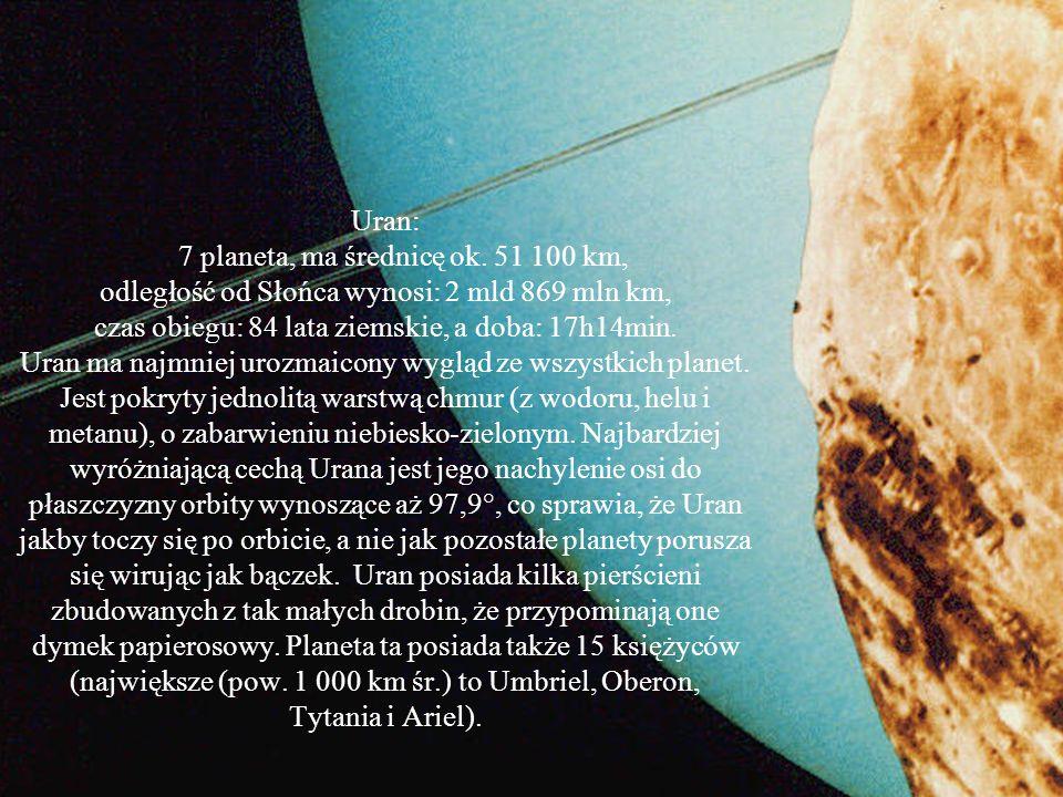 Uran: 7 planeta, ma średnicę ok