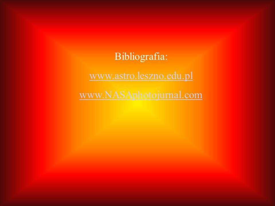 Bibliografia: www.astro.leszno.edu.pl www.NASAphotojurnal.com