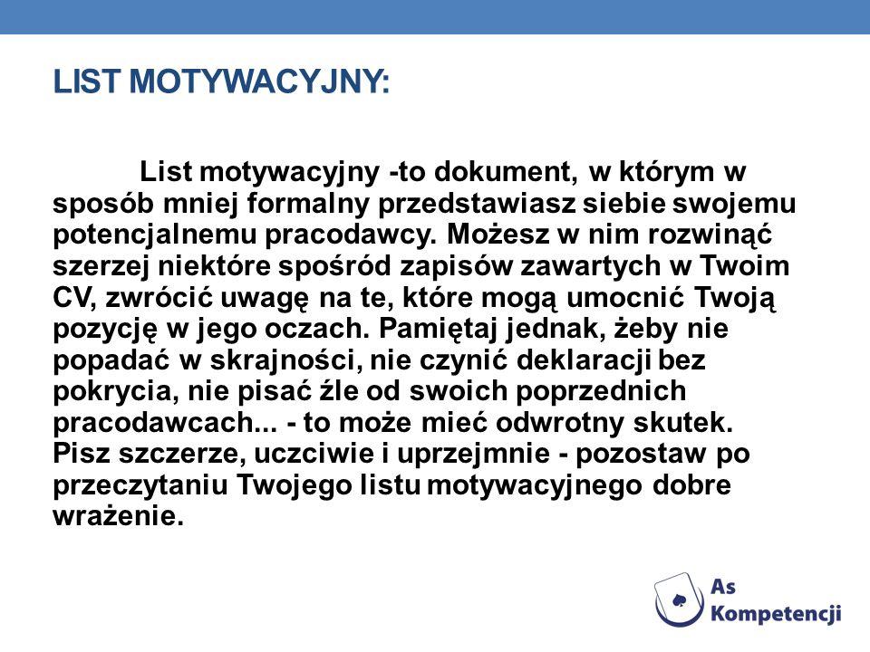 LIST MOTYWACYJNY: