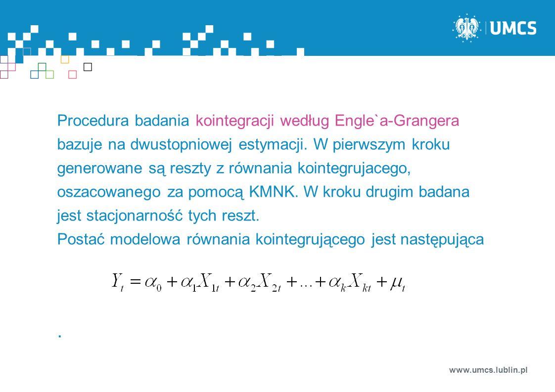 Procedura badania kointegracji według Engle`a-Grangera bazuje na dwustopniowej estymacji. W pierwszym kroku generowane są reszty z równania kointegrujacego, oszacowanego za pomocą KMNK. W kroku drugim badana jest stacjonarność tych reszt.